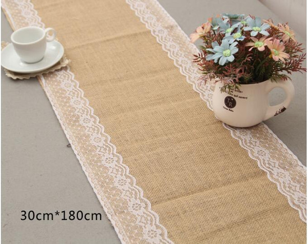 best selling 10PCS lot 30cm*180cm Vintage Burlap Lace Hessian Table Runner Natural Jute Wedding Party Decoration Home supplies