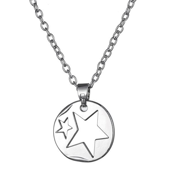 New Fashion Magnetic Personalized Alloy Shiny Silver Star Pendant Necklace Jewelry