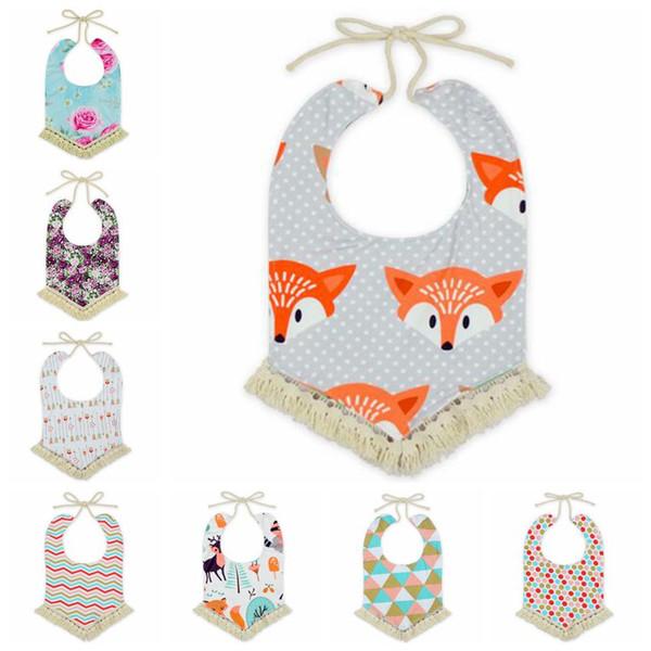 12 Styles Baby Bandana Bibs INS Burps Cloths Newborn Tassel Saliva Towels Infant Cotton Bibs Scarf Kids Cartoon Fox Dot Burp CCA6990 30pcs