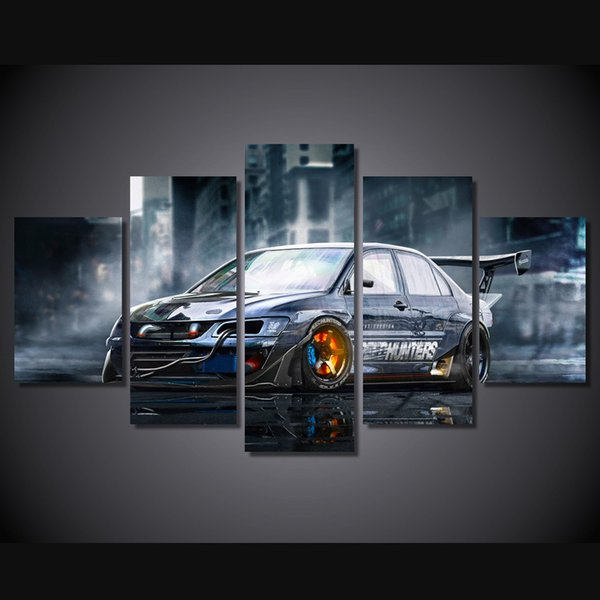 5 Pcs/Set Framed HD Printed Modified car Painting Canvas Print room decor print poster picture canvas Free shipping/ny-4113
