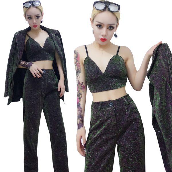 Phantom color Female suit sexy Bra jacket slim pants 3 piece sets Bar Club singer Hip Hop jazz costumes Leading dance stage wear