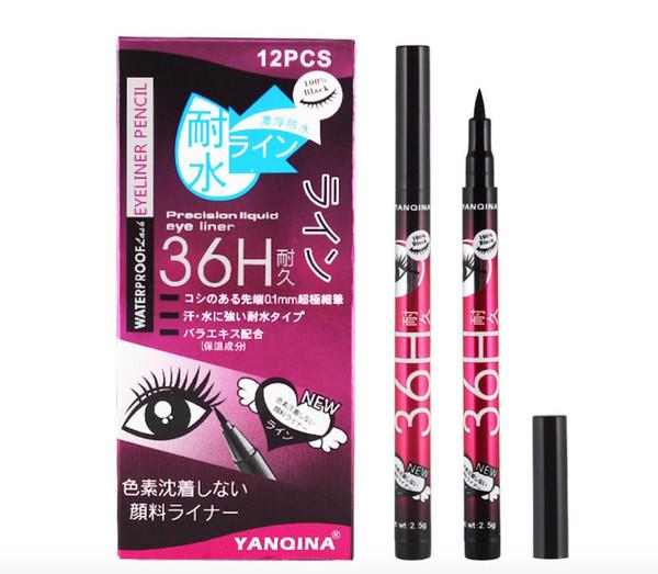 Alta calidad YANQINA 36H lápiz delineador de ojos delineador de ojos a prueba de agua negro delineador de ojos sin flor Precision Liquid Eye liner 12pcs / set