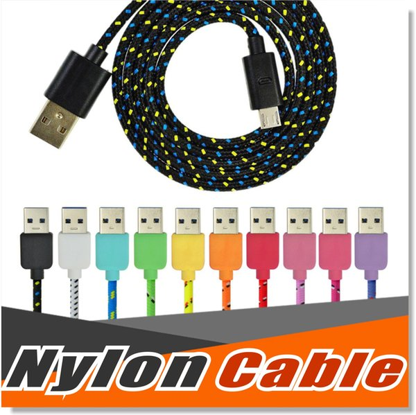Micro USB Cable S7 Edge S7 S6 High Speed Nylon Braided Cables Charging Sync Data Durable 3FT 6FT 10FT Nylon Woven Cords For HTC Sony LG