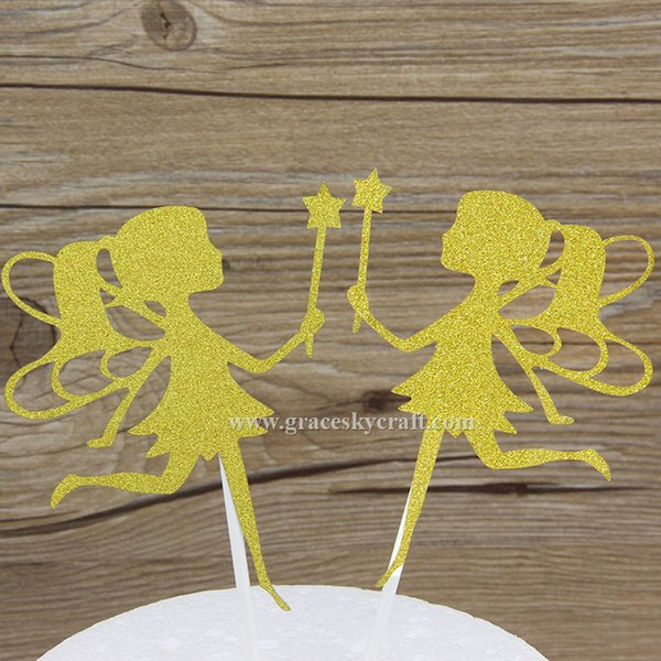 12pcs free shipping Glitter paper little fairy girl birthday Cakes Toppers Kids Birthday baby shower Party Favors cupcake picks