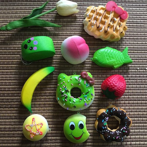 New 10PCS Kawaii Squishies Lots Cupcakes Peach, strawberry, banana, expression of bread, hello Kitty Bun Toasts Multi Donuts Is the picture
