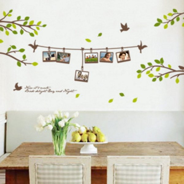 Leaf Wall Stickers Art Decal Adhesive Removeable Wallpaper Mural Sticker for Kids Room Bedroom Girls Living Room Decorative