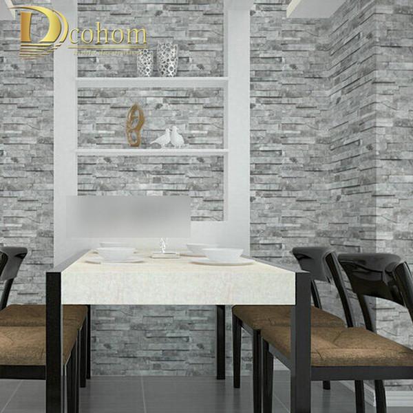 Venda por atacado - PVC Vintage papel de parede 3D projetos de tijolo de madeira Stripe Pattern TV Quarto Sofá fundo Decoração Papel De Parede Rolo R456