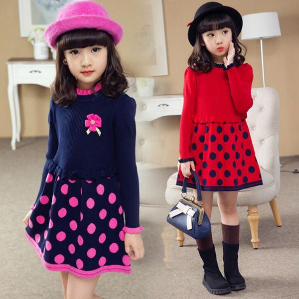 top popular 2017 new winter Autumn Kids girls sweater Fashion Lotus leaf collar Dots children baby flower Long Sweaters Stitching dress 3-9y 2021