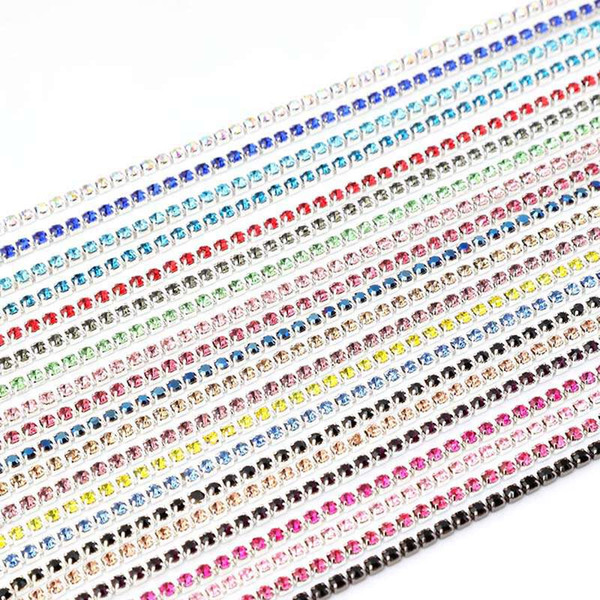 Wholesale 2mm-3mm 10 Yards/Lot Silver Base Claw Rhinestone Chain Multicolor Sew On Garment Jewelry Bag Shoes Accessories Crystal Chains