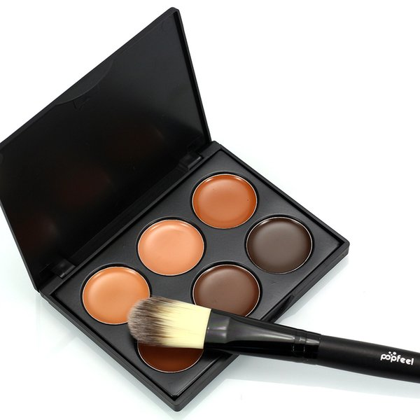 6 Colours Professional Facial Concealer Cream Foundation Makeup Camouflage Concealer Palette with Makeup Brush free shipping