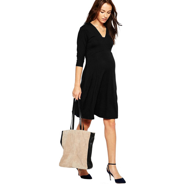 HI Bloom Summer Maternity Clothing Elegant Lady Dresses 95% Tencel+5% Lycra Office Gowns For Women Pregnancy Vestidos Clothes Free Shipping