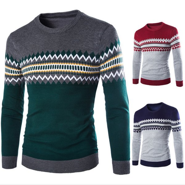 Men Sweater Men's Pullovers Casual Knit Sweaters Man Long Sleeve O-Neck Sweater 2017 New Fashion Solid red Navy Men Clothing