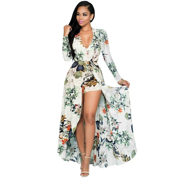 2017 Summer Long Floor Length Dresses Split Beach Bohemian Style Women Maxi  Prom Party Dresses Evening Chiffon Women Clothing Plus Size White Floral ...