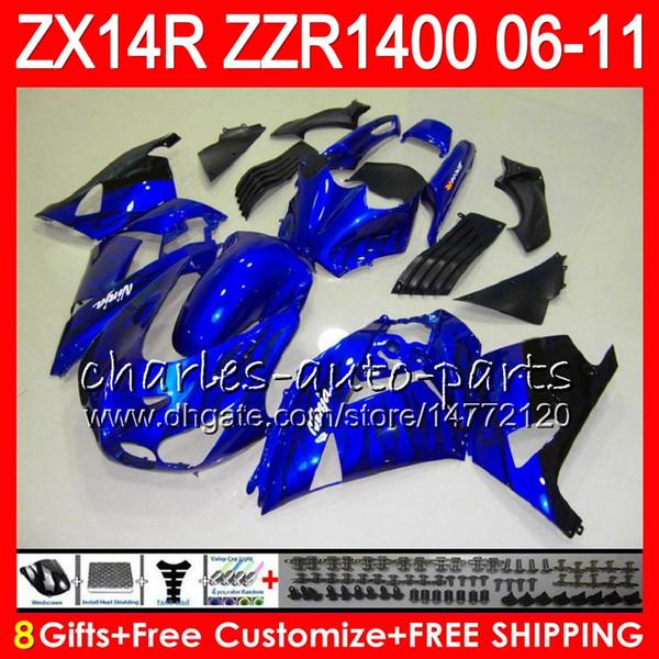 Body For KAWASAKI NINJA blue flames ZX 14R ZX14R 06 07 08 09 10 11 HM43 ZZR 1400 ZZR1400 14 R ZX-14R 2006 2007 2008 2009 2010 2011 Fairing