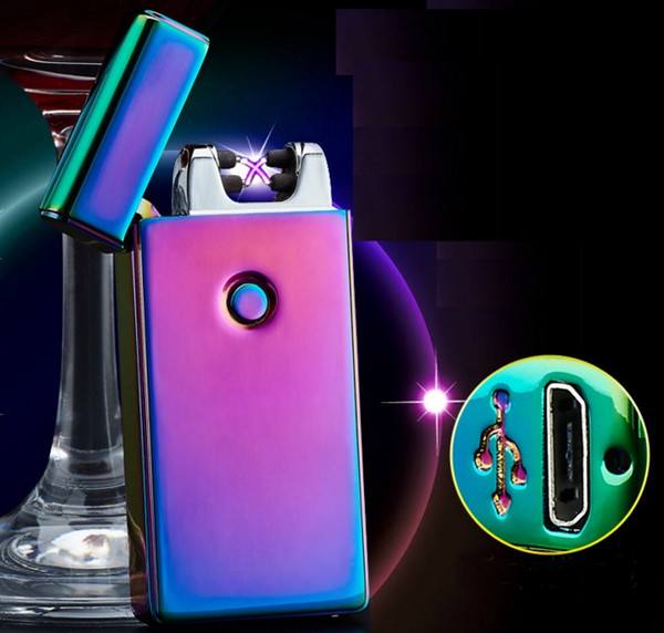 Electronic Lighter Double ARC Pulse Flameless Plasma Torch Dual Arc Electric USB Charging Lighter Rechargeable Windproof Cigarette Lighter