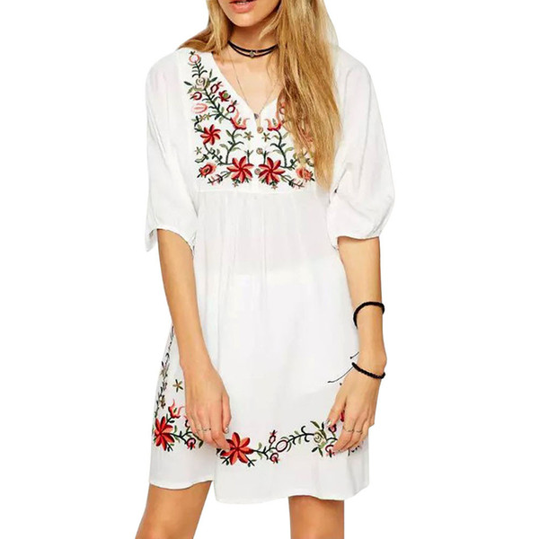 Women Mexican Ethnic Embroidered Pessant Hippie Dress Fashion O Neck Short  Sleeve Elegant Loose Casual Dress Vestidos Plus Size Dressing Style For ...