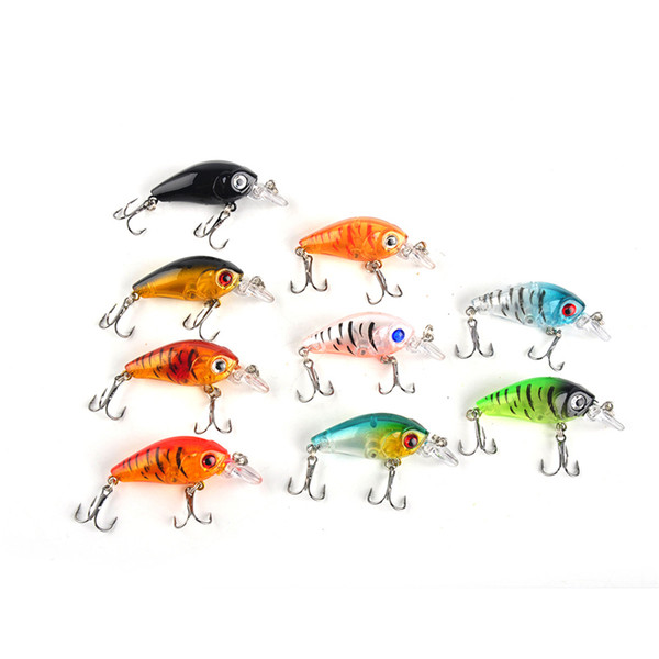 best selling 4.5cm 4g Mini Transparent Plastic Fishing Lures Bait Minnow Crankbaits 3D Eye Artificial Lure Bait 9 Colors per Set 2508038