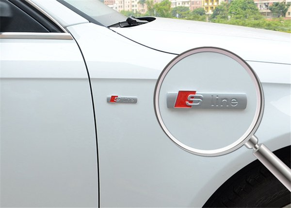 Nouveau Automobiles 3D En Métal Autocollant De Voiture S Ligne Autocollant De Voiture Couvre pour Audi A3 A4 A5 A6 Q3 Q5 Q7 Autocollant Automatique Accessoires De Voiture Styling