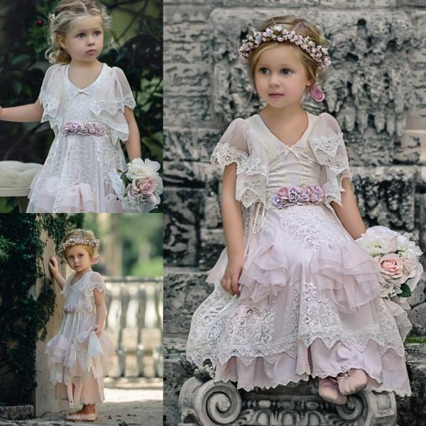 Lovely Lace Boho Flower Girl Dresses Special Occasion For Weddings Beach Kids Pageant Gowns A-Line Tiered First Communion Dress