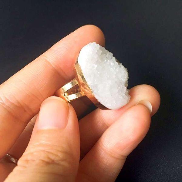Gold Rock Crystal Ring
