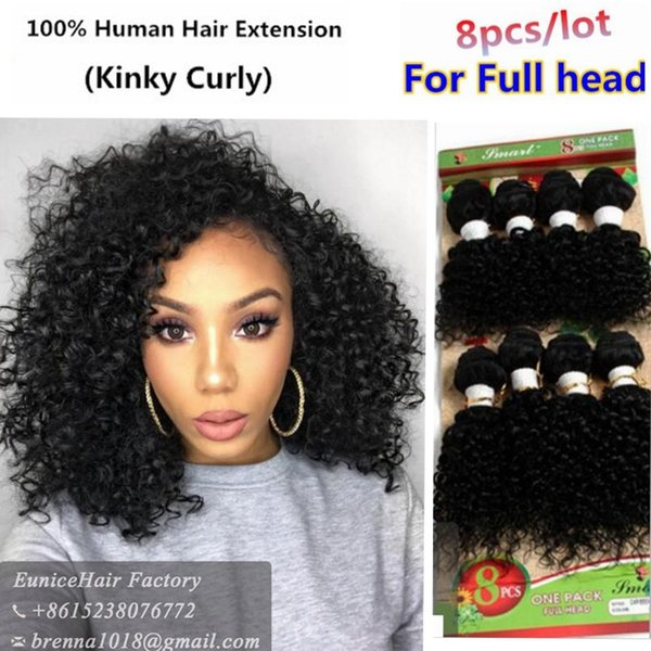 Freeshipping New 8 PCS for full head brazilian virgin deep wave jerry curly african hair with bundles cheap water weave extensions USA