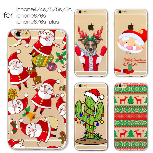 ultra thin tpu printing case Design of Christmas series for iphone5 5s SE mobile phone printed cases tpu transparent flip cover