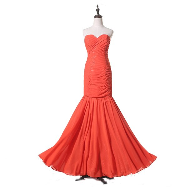 Formal Style Orange Chiffon Real Made Evening Dress Sweetheart Long Length Competitive Price Ladies Banquet Gown