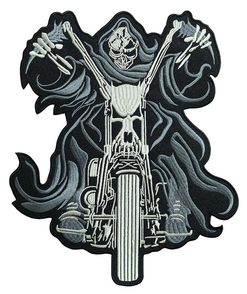 "Free Shipping Low Price 10"" x 8.5"" Skull Chopper Rider Large Embroidered Biker Back Patch Motocycle XL"