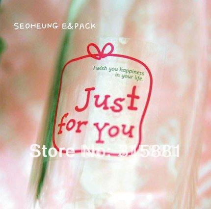 JUST FOR YOU Cute Clear gift Sticker for Handmade Products, clear seal sticker , Gift Sticker 4cmx4cm