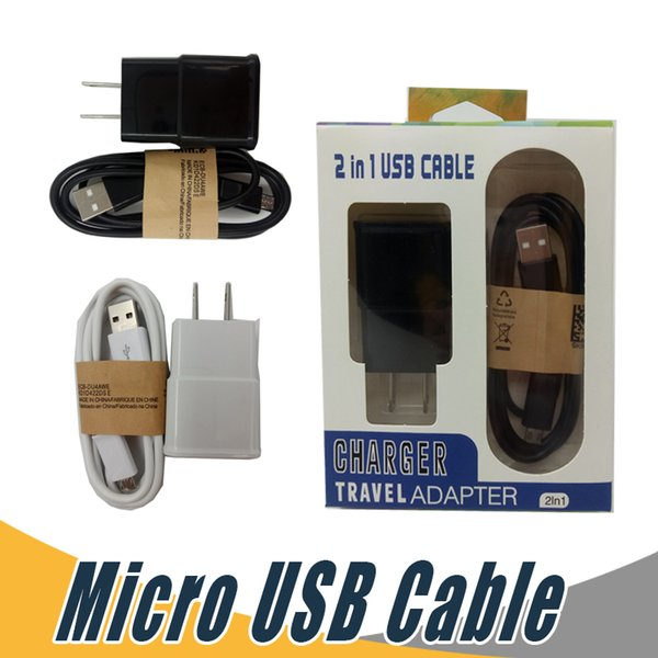 Micro USB Data Cable US EU Wall Charger 5V 2A Kits 2 In 1 Travel Adapter with Retail Package For Mobile Phone