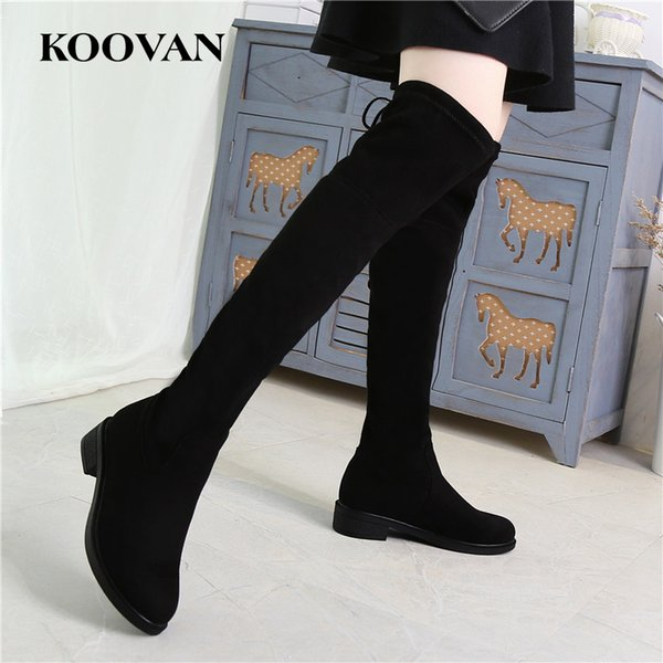 High Quality High Boots Women Fashion shoes Stretch Cloth Martin Boots 2017 Koovan Winter Autumn Velvet Inside Low Heel Boots W165
