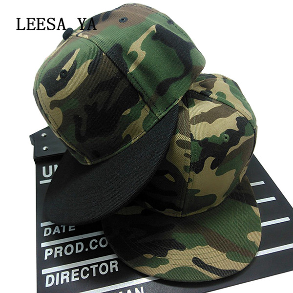 Wholesale- Wholesale Blank Camo Snapback Hats For Men Fashion Camo Snapback Cap Women Hip Hop Caps Gorras Planas Sport Casquette Hat Bone