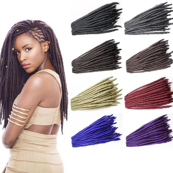 Alta qualidade # 613, preto dreadlocks tranças extensão do cabelo sintético teme 24 vertentes / pcs faux locs crochê cabelo trança sintética