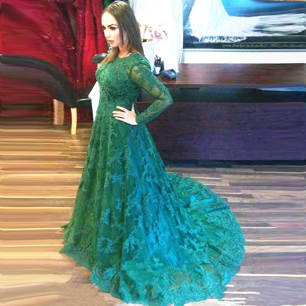 Arabic Long Evening Dresses Vestidos Longos Para Formatura 2019 Modest Green Lace Evening Dress Long Sleeve
