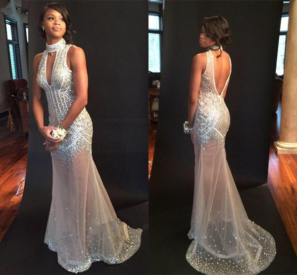 Sexy Nude Mermaid Prom Dresses 2018 High Neck Crystal Beaded Tulle See Through Backless Evening Gowns Sparkle Bling Party Dress