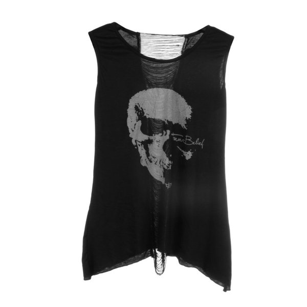 Wholesale-1pc fashion New Summer latest design T Shirt Vintage Tassel Open top Back Skull Punk sleeveless tops tees,Sexy Lady Top