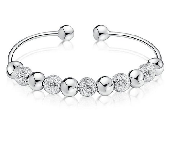 Top Quality Transport Beads Bracelets Silver plated Bangles Women Charm Wedding Bracelets Jewelry Gift free shipping