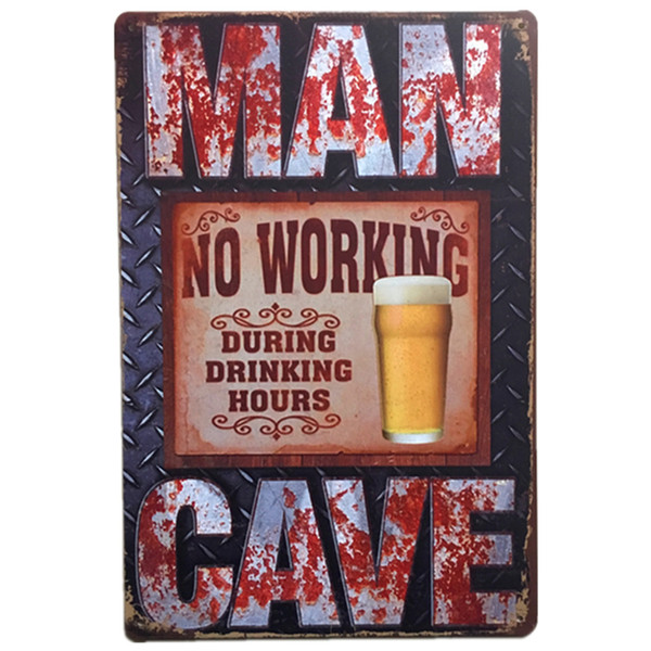 No Working During Drinking Time Vintage Rustic Home Decor Bar Pub Hotel Restaurant Coffee Shop home Decorative Metal Retro Tin Sign