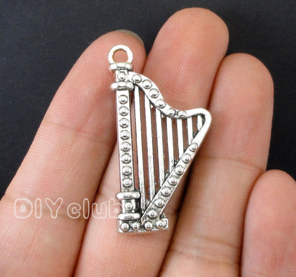 60pcs-Harp Charms, Antique Tibetan Silver 3D Microphone Mini Musical Instruments Trumpet Horn Music Charm Electric Guitar Pendants Jewelry