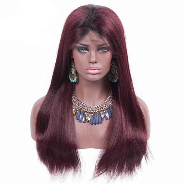 Top Grade Ombre Burgundy 99J Virgin Peruvian Human Hair Straight Omber Blonde #613 Glueless Lace Front Wig Free Shipping