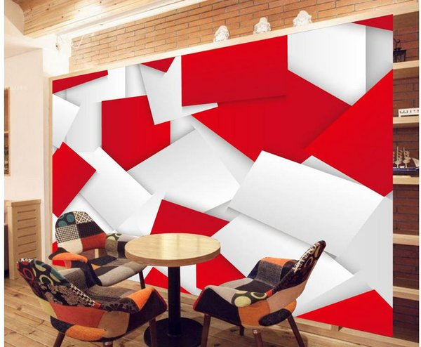 best selling Modern simple 3D bright red background wall mural 3d wallpaper 3d wall papers for tv backdrop