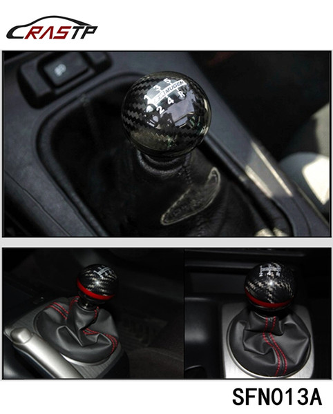 top popular RASTP - Mugen Power 6 Speed Racing Gear Shift knob Black Carbon Fiber with Red Line LS-SFN013A 2021