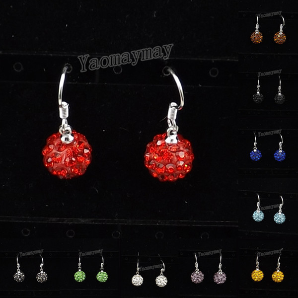 10mm Disco Ball Crystal Eardrops Silver Plated earrings 24 Pairs/Lot 10 Colors For Choice