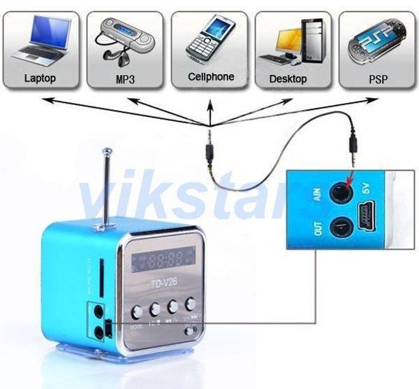 Toptan-SADECE AŞK mikro SD TF USB taşınabilir hoparlörler internet radyo, cep telefonu titreşim pc müzik çalar, İşlevli mini hoparlör V26