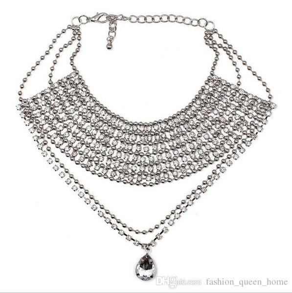 12pcs Sexy Multiple layers Full Rhinestone Crystal Choker Necklace for Women New Bijoux Maxi Statement Necklaces Collier Jewelry F135