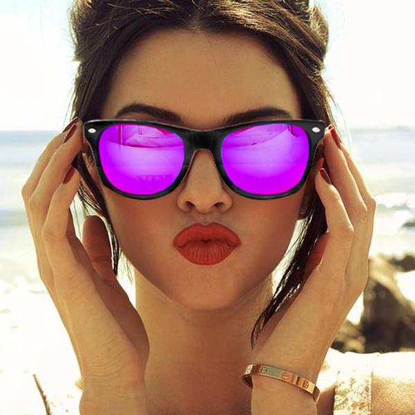 Gros-Vintage Classique Carré Violet Miroir Lentille Marque Designer Lunettes De Soleil Lady Hommes Rétro UV400 Femmes Lunettes De Soleil Mâle Femelle