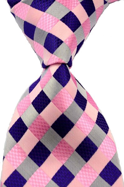 New Classic checks Purple Pink Gold Yellow colorful 100% New Paisley Jacquard Woven Silk Men's Tie Necktie csw04