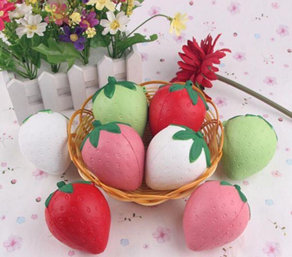 Free Ship 20pcs 8*6cm Cute Squishy Strawberry Fruit Food Charm Cell Phone Straps Fashion Squishies Bag Pendant Chirstmas Gift