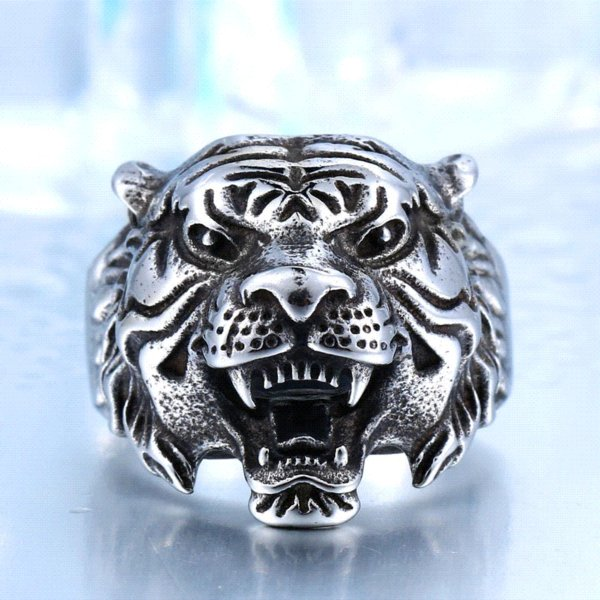 BEIER 316L Stainless Steel Titanium Animal Tiger Head Ring Men Personality Unique Men's Animal Jewelry BR8-307 US size