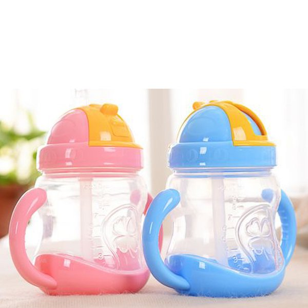 New water bottle Baby sucker cups double handle drink water bottle baby soft mouth straw cup 280ml